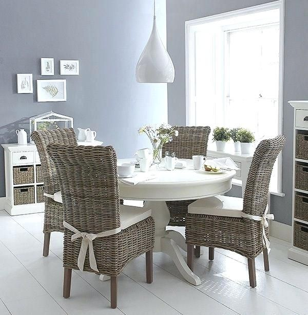 White Wicker Dining Chairs Excellent, White Rattan Dining Room Chairs