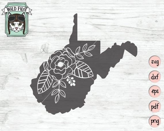 West Virginia svg file, West Virginia cut file, West Virginia Silhouette svg, Floral West Virginia, State svg file, West Virginia Flowers #westvirginia