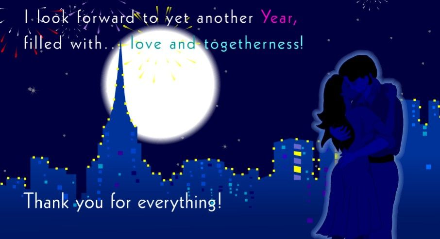 thank you new year greeting card love