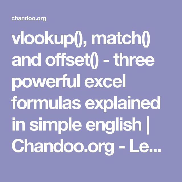 Vlookup match and offset three powerful excel formulas vlookup match and offset three powerful excel formulas microsoft publicscrutiny Choice Image
