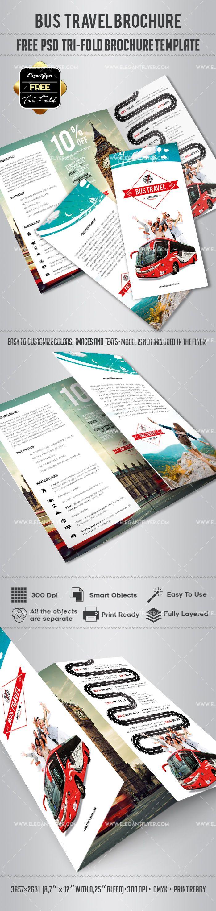 Free Bus Travel Tri Fold Psd Brochure Template Pinterest Bus