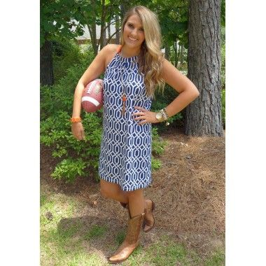 Alley Bowtie Dress- Navy/Orange Great for opening game!