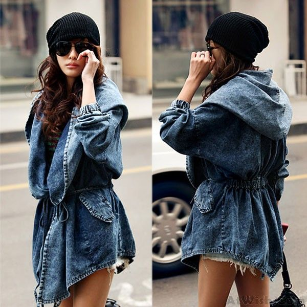 Wow~ Awesome Cowboy Waist String Denim Hooded Windbreaker/Jacket/Coat! It only $46.9 at www.AtWish.com! I like it so much<3<3!