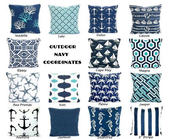 Outdoor Navy Blue Throw Pillow Covers Outdoor Cushions Decorative Throw Pillows Nautical Pillows Beach Decor Mix Match Various Sizes Outdoor Pillow Covers Blue Throw Pillow Cover Navy Blue Throw Pillows
