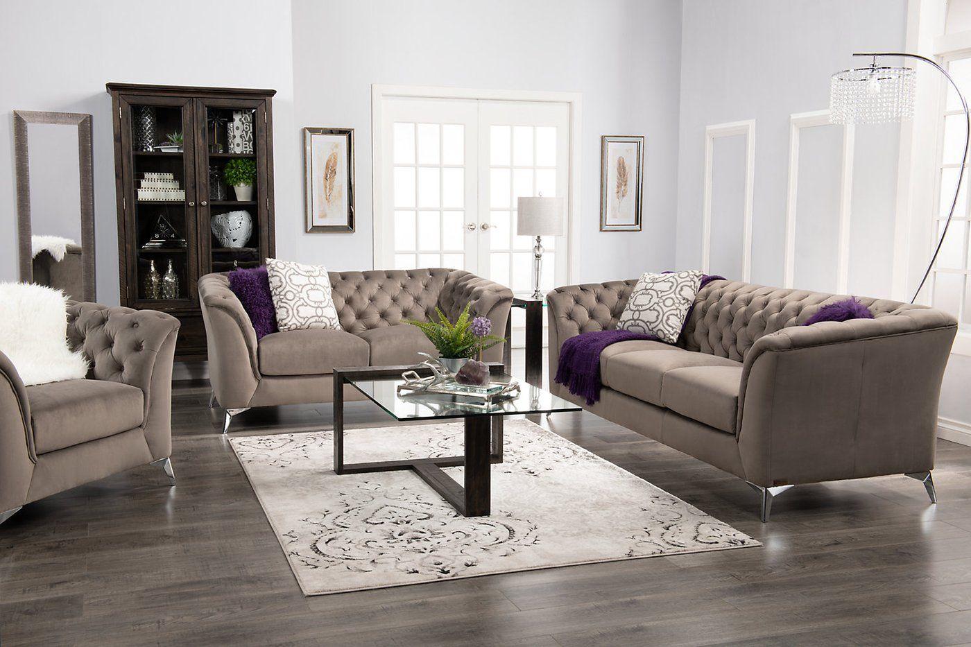 Meredith Velvet Fabric Sofa – Grey  The Brick  Grey fabric sofa