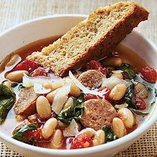 Hearty Italian Soup with Parmesan-Pepper Cornbread Biscotti Recipe