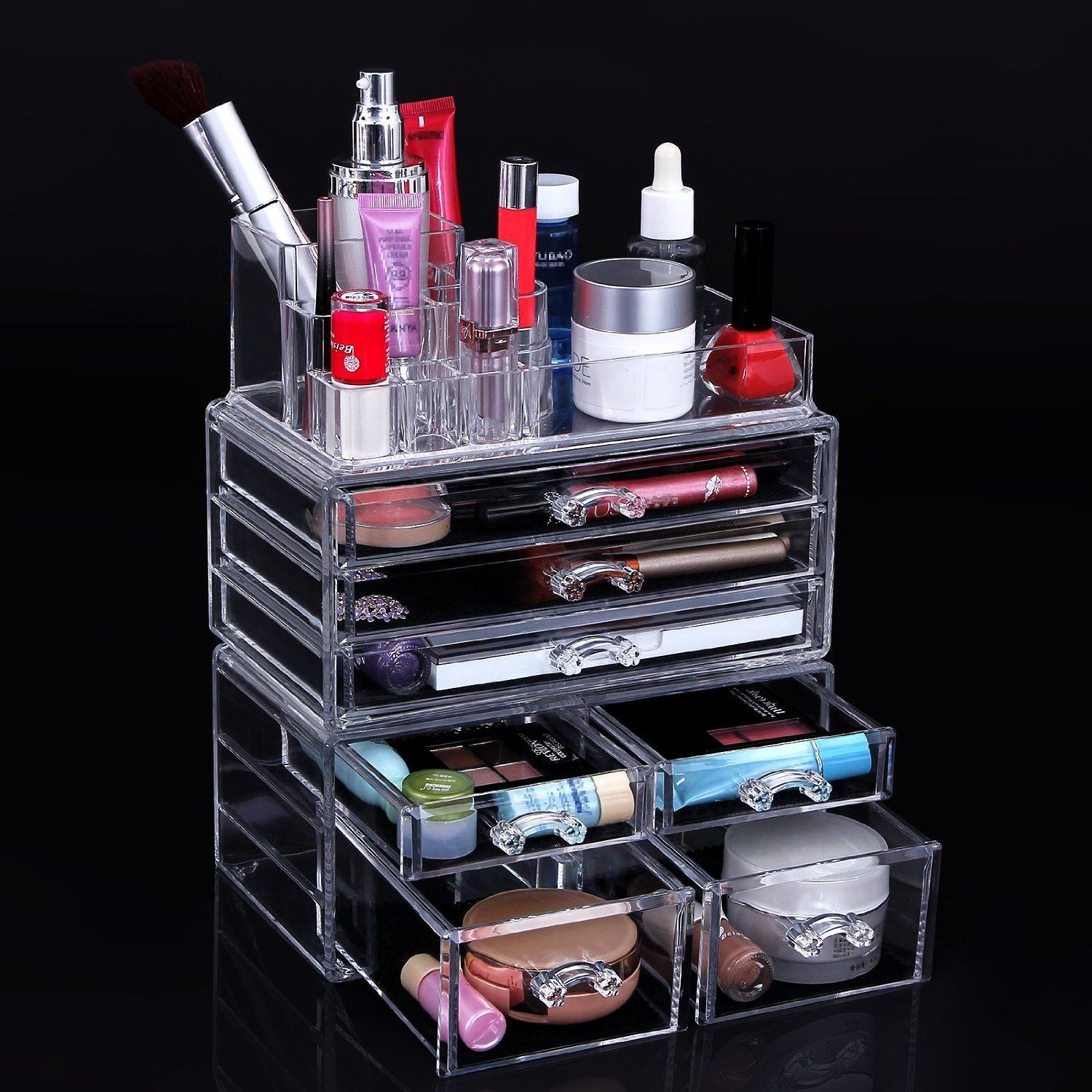 Cosmetic Beauty Makeup Organizer Jewelry Chest Bathroom Storage Case
