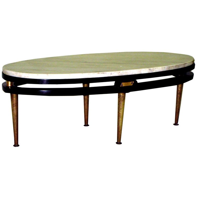 French Cantilevered Oval Cocktail Table