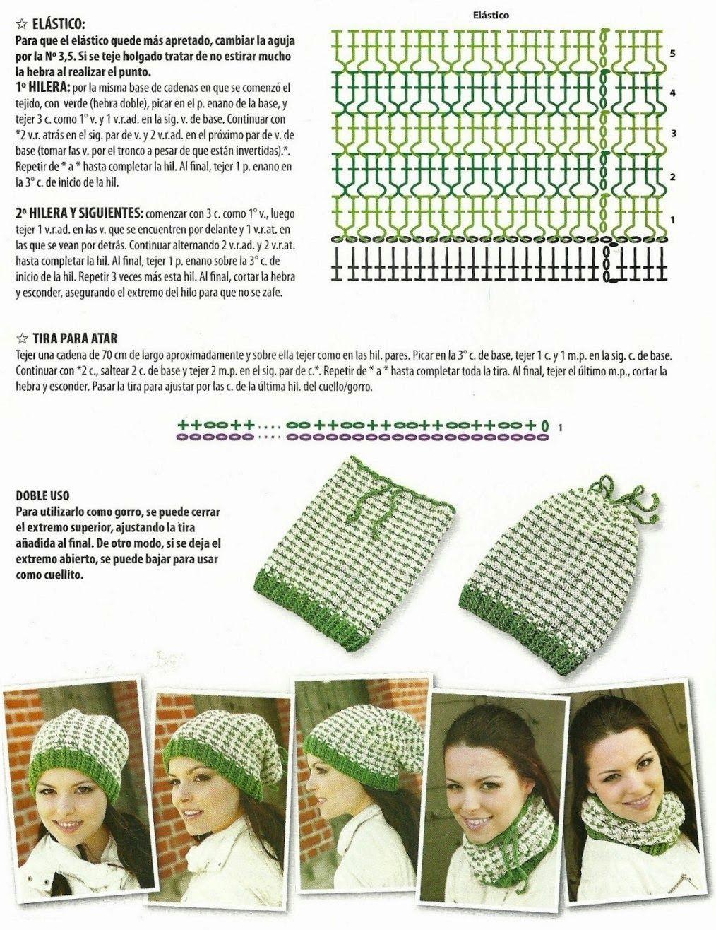 Gorro y cuello dos en uno de crochet patron - Patrones Crochet ...