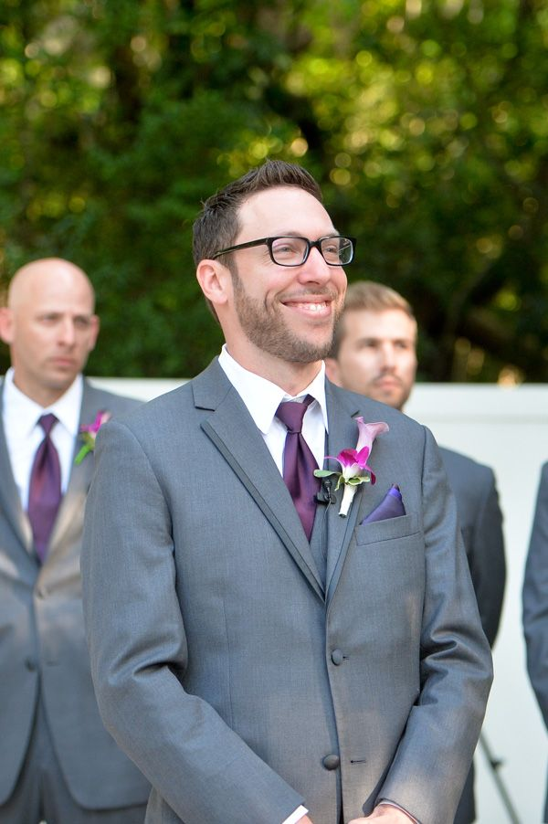 Groom In Gray Suit Purple Tie And Pocket Square Fuchsia Pink