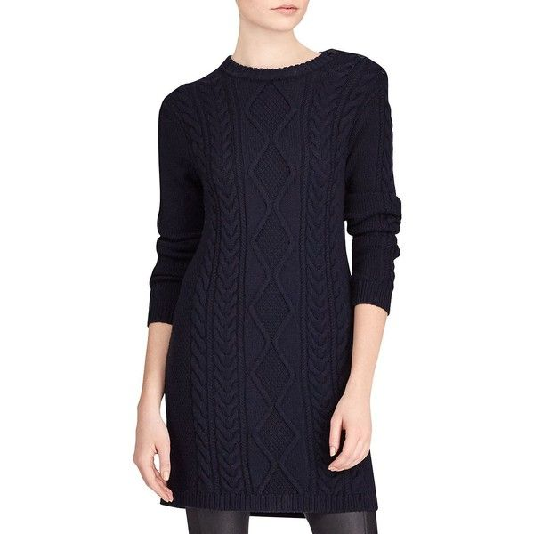 1162c3e85702 Polo Ralph Lauren Aran Casual Merino Wool Dress ( 224) ❤ liked on Polyvore  featuring · Blue Long Sleeve ...