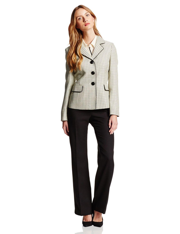 Le Suit Women s 3 Button Tweed Jacket with Pant Suit Set ... 9bb13693f9