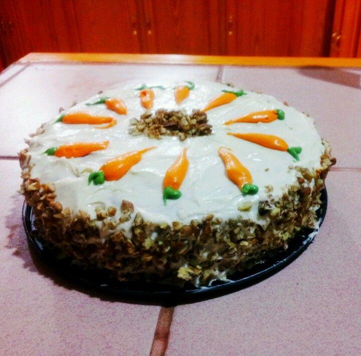 Carrot cake decorated homemade cake decorating