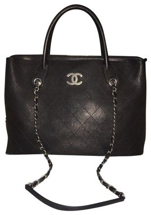 f2d8bdc15c5dc7 Chanel Shopping Tote Grained Vegetal Calfskin Stitched Shoulder Black Tote  - Tradesy