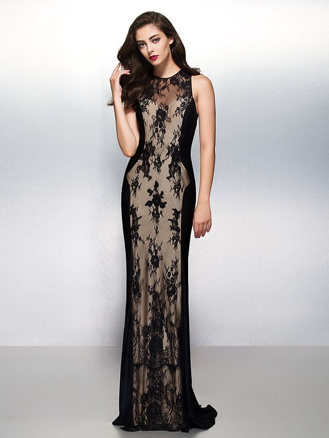 Sheath Column Jewel Neck Sweep Brush Train Lace Formal Evening Black Tie Gala Dress With By Ts Couture