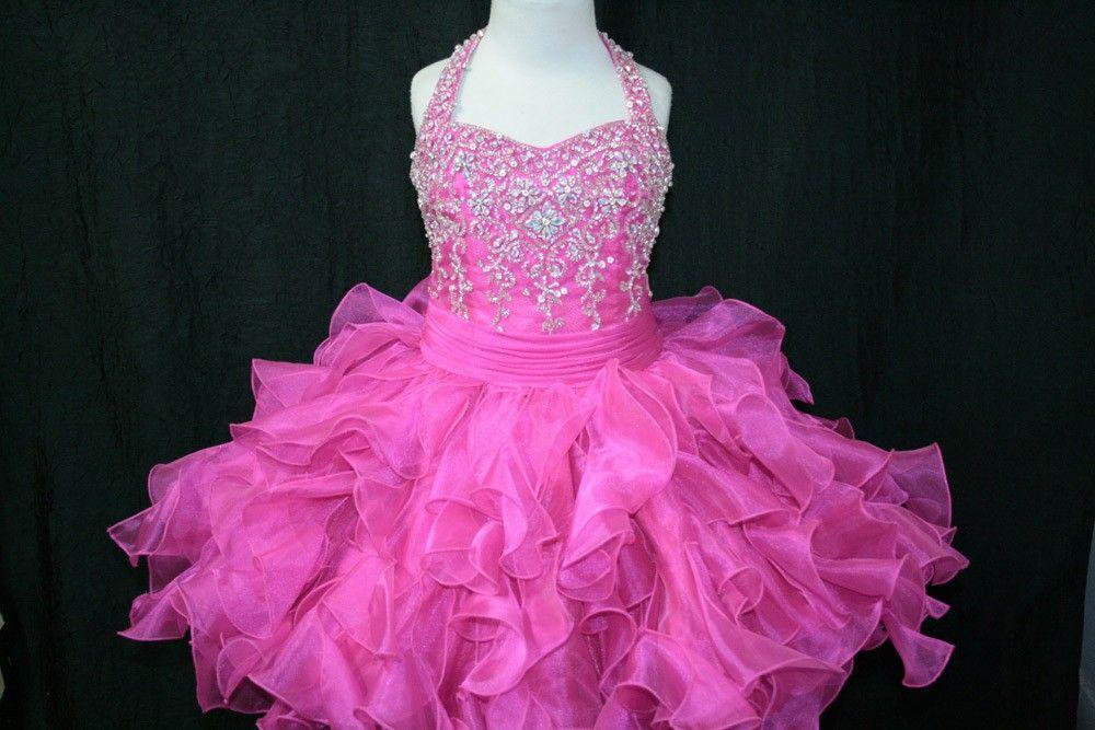 Little Rosie Girls Glitz Short Pageant SR203 Beaded Halter $146.99 Little Rosie Short Pageant Dresses