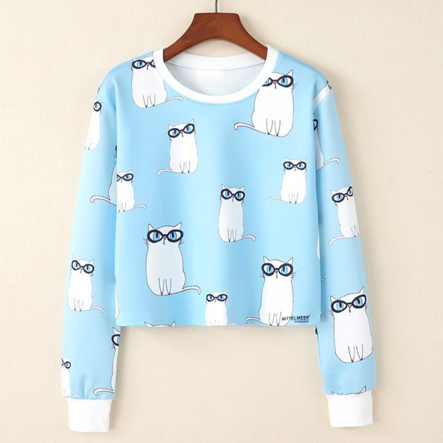 dd40906d060 I Believe in Unicorns Crop Sweatshirt - I Love Cyber Shopping - Buy this  cute Cat with Glasses Crop Sweatshirt from Top rated seller with many  positive ...