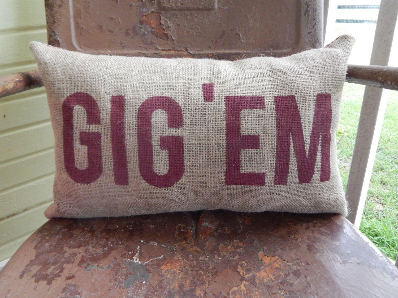 Color printing tamu - Texas A M Aggies Gig Em Aggie Pillow Collegiate Decor Burlap Decorative Throw Pillow Custom Color