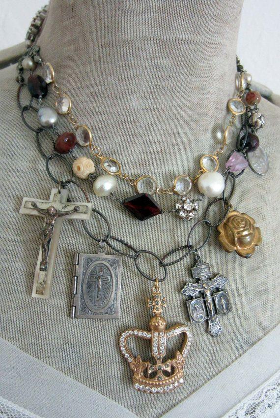 RESERVED for Tracey divine majesty vintage assemblage bib