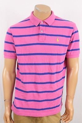 f8667e573 Mens Polo Ralph Lauren Pink Blue Striped SS Mesh Shirt Size Large Yellow  Pony