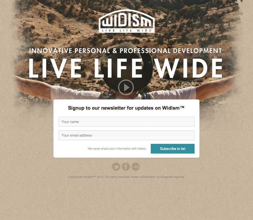 Minimal and engaging newsletter signup from Widism | Landing Pages ...