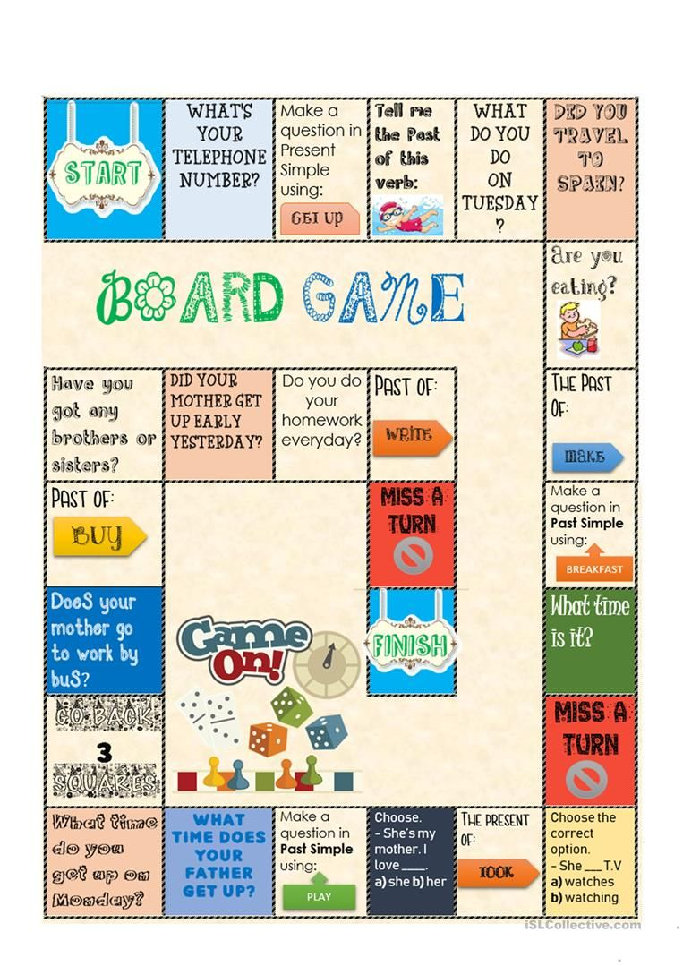 Board Game Present And Past Simple Worksheet Free Esl Printable Worksheets Made By Teachers English Class Games Grammar Games Board Games