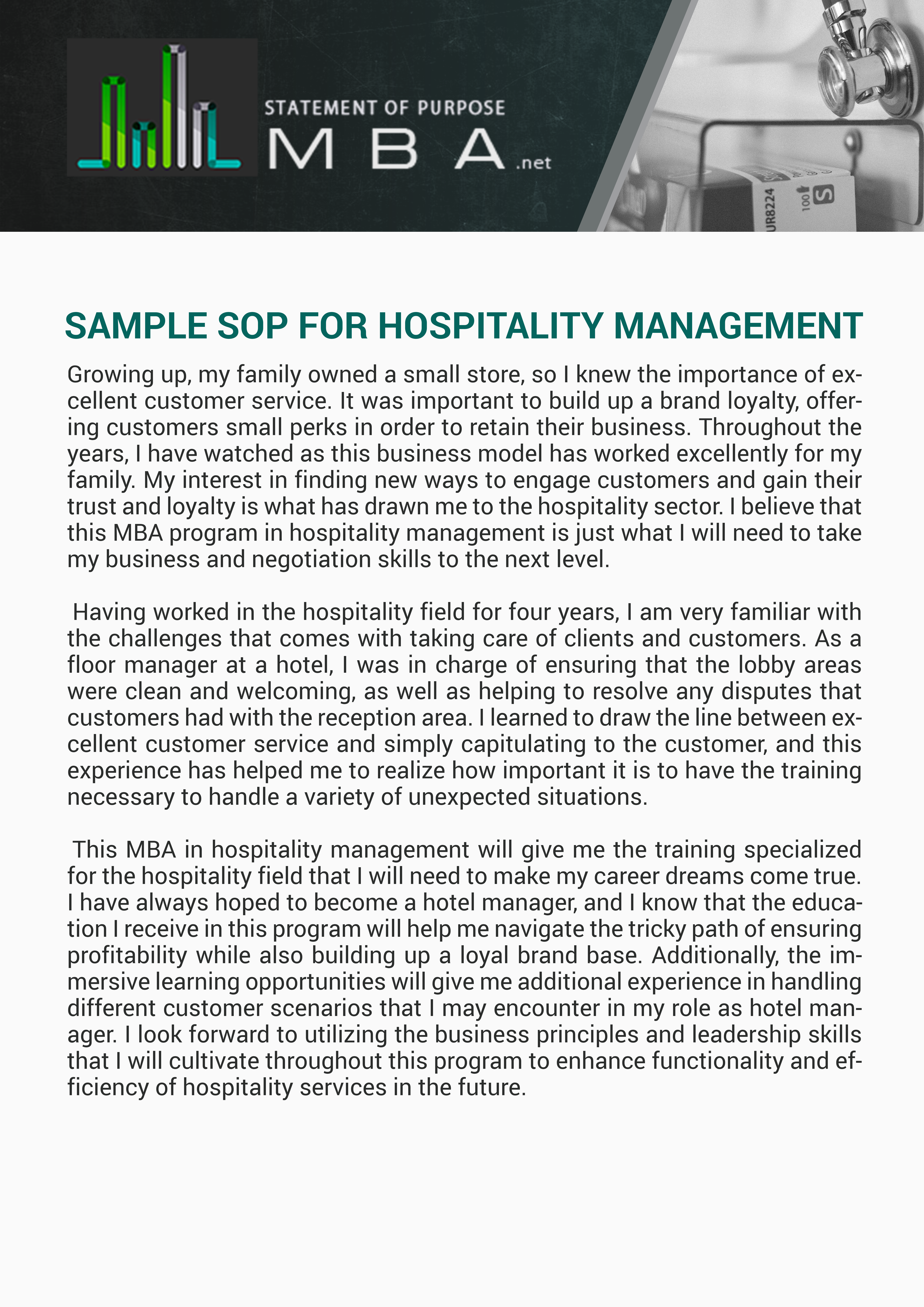 Pin By Example Samples On Sample Sop For Hospitality