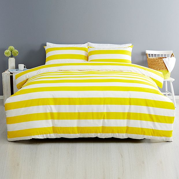 Essentials Stripe Quilt Cover Set Yellow Target