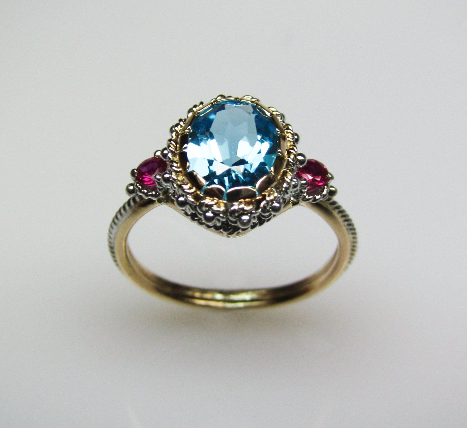 Funky vintage inspired ring beauty Blue Topaz & Ruby Ring in