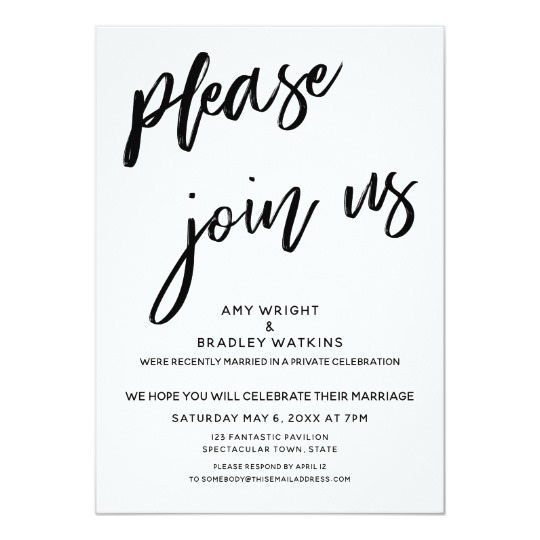 Handwriting Please Join Us After Wedding Reception Invitation Zazzle Com Wedding Reception Invitations Reception Invitations Budget Friendly Wedding