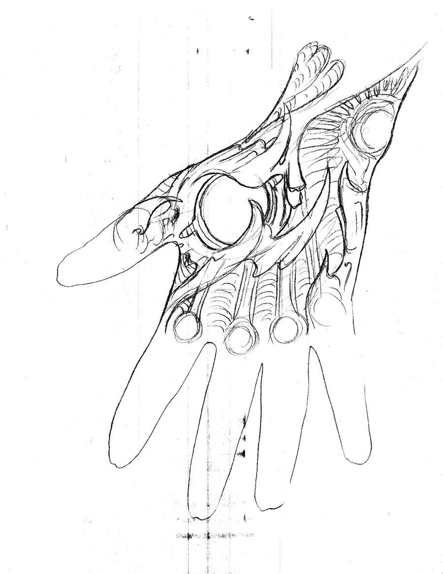 Hand Tattoo Sketch Biomechanical 6 by TattooMasterZAO