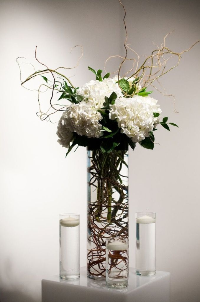 Hydrangea and curly willow branches blush flowers