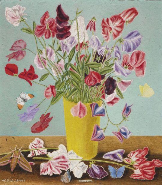 Adolf Dietrich (Swiss, 1877-1957), Wickenstrauss [Sweet Pea Bouquet], 1945. Oil on panel, 30 x 27 cm.