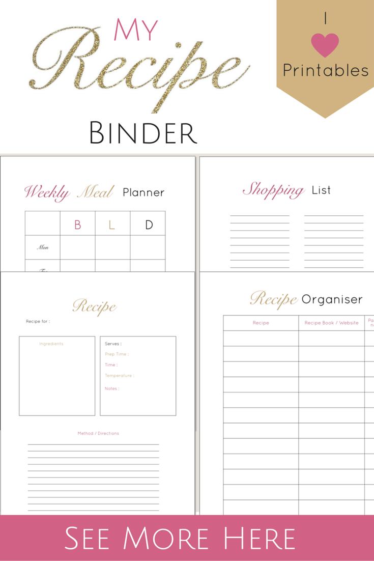 recipe sheets printable
