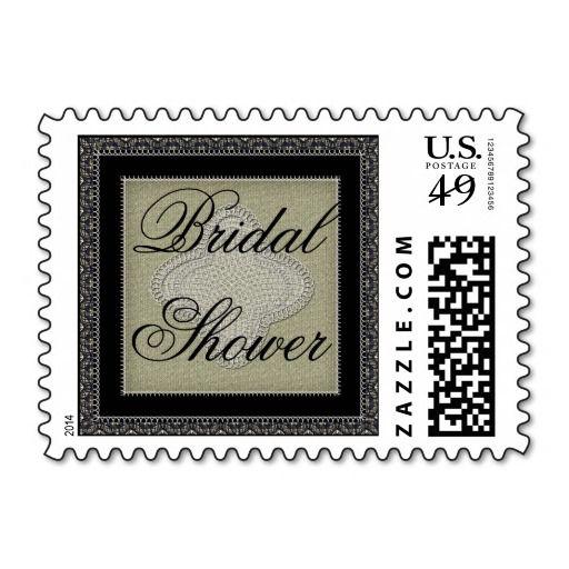Vintage Quatrefoil Lace and Burlap Bridal Shower Stamps