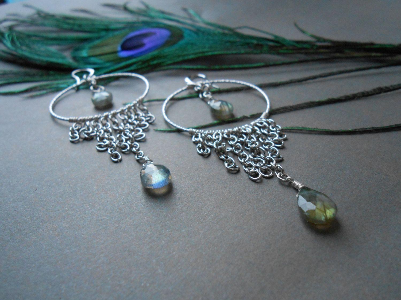 Gocce di labradorite - Grandi cerchi argento con frange e pietre by ...