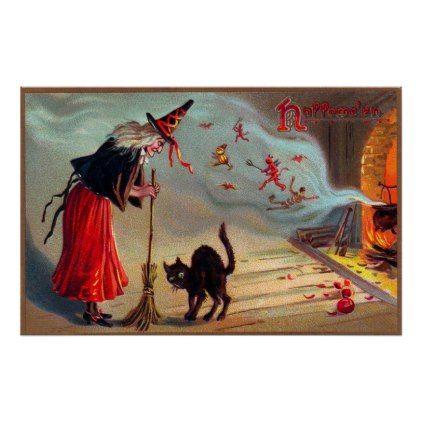 Vintage Halloween witch black cat decor poster - #Halloween happy