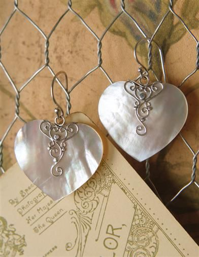 MOTHER-OF-PEARL EAR HEARTS $29.95