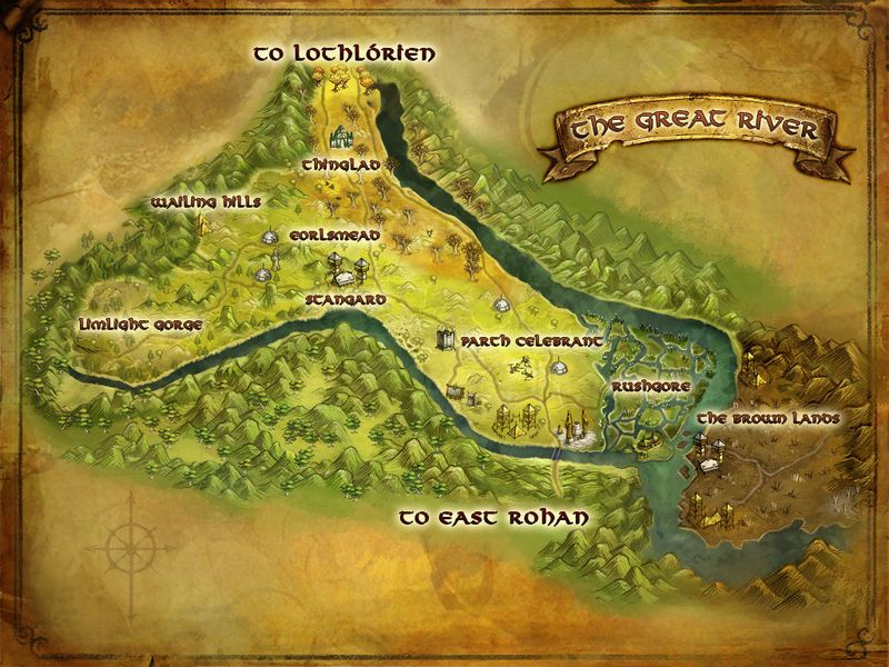 LOTRO map of the Great River | Lord of the Rings Online | Middle