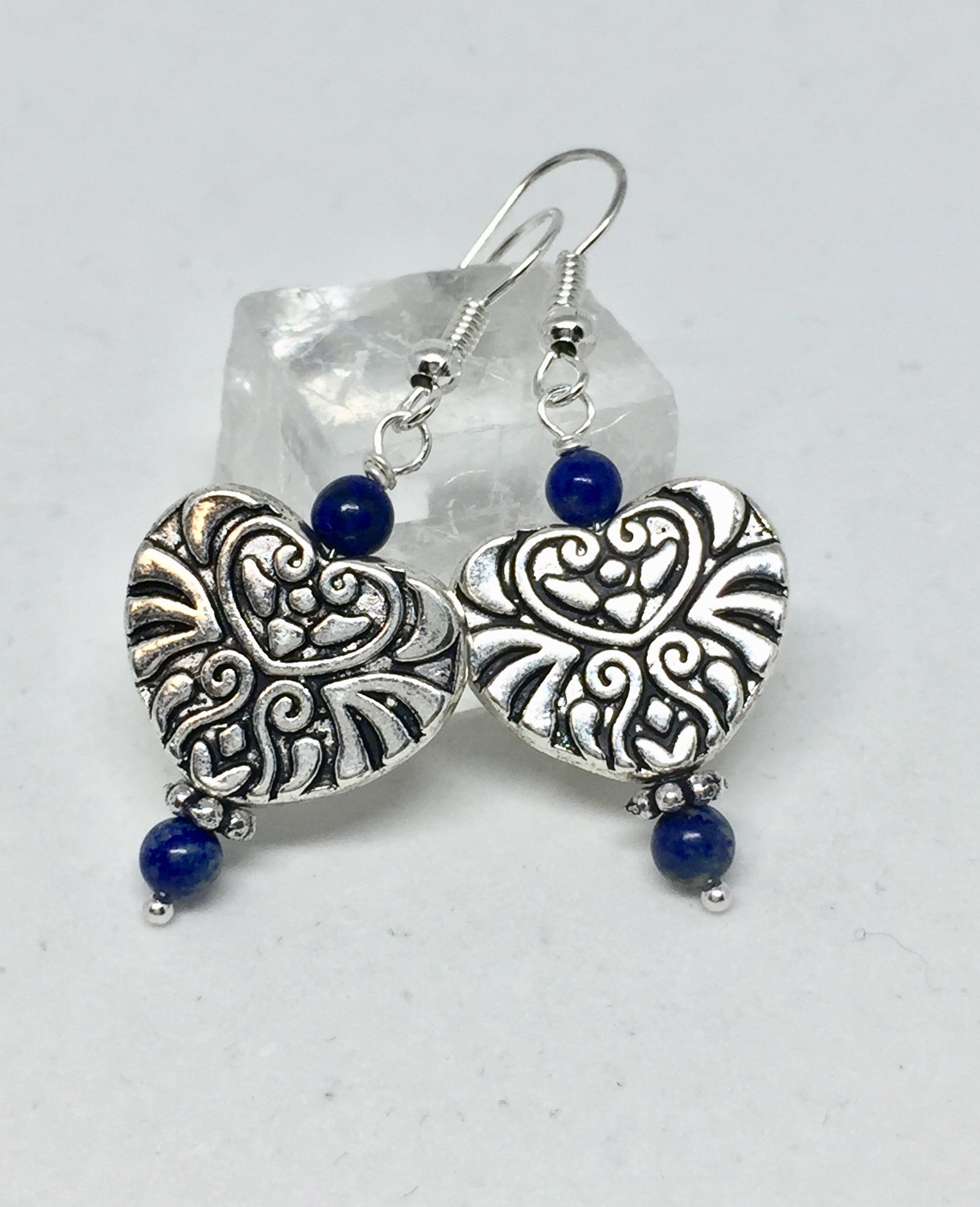 Photo of Lapis silver filigree heart earrings, dark blue stone heart jewelry