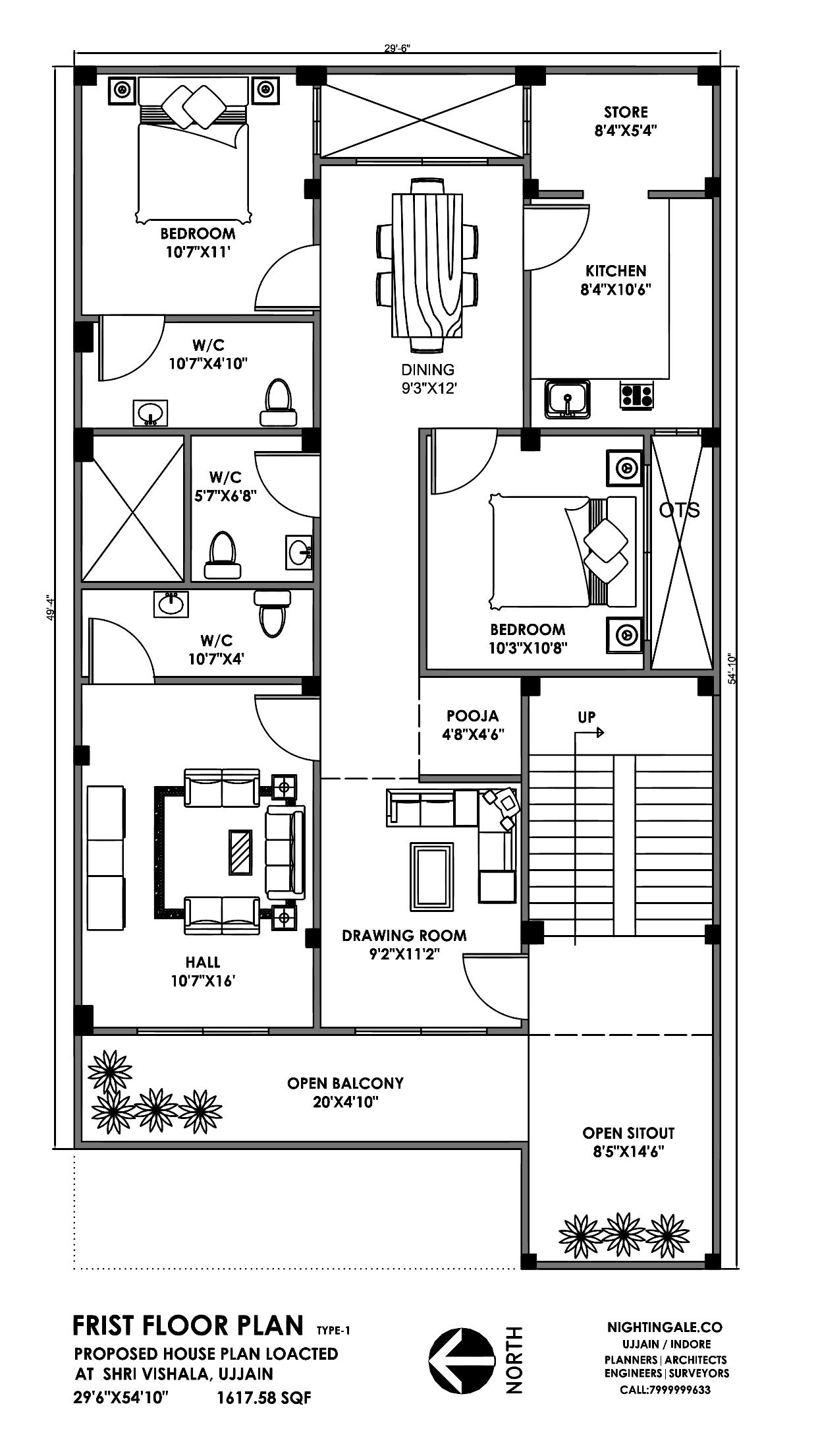 30x50 3bhk House Plan Sqft