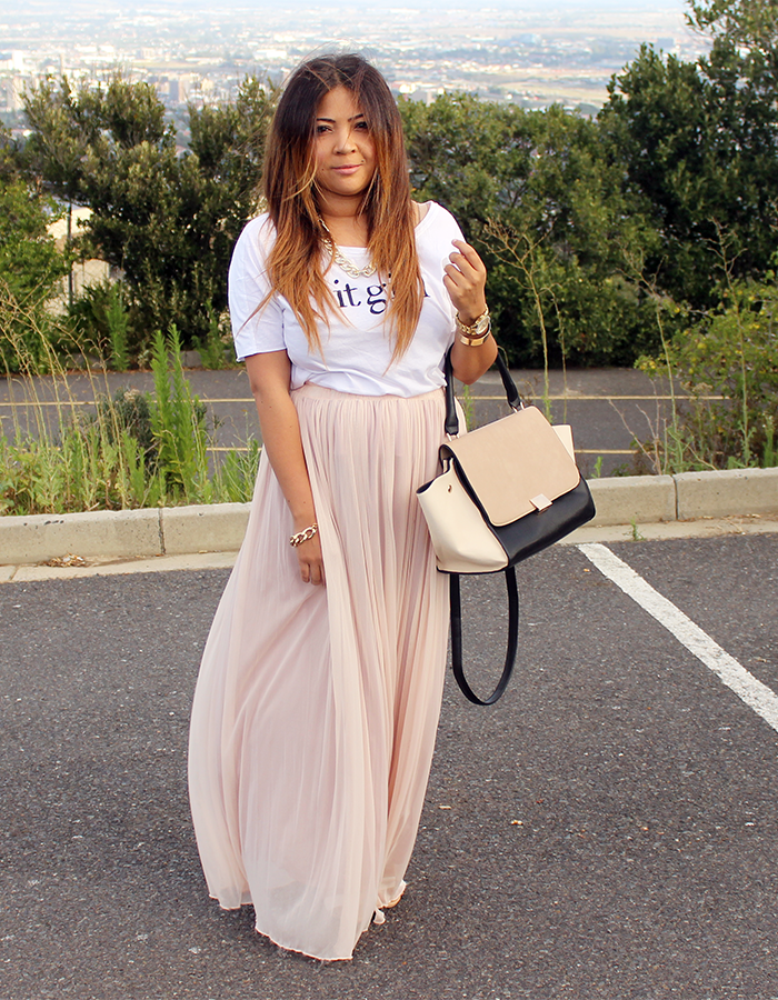 mango it girl, it girl t shirt, maxi skirt, pink skirt ...