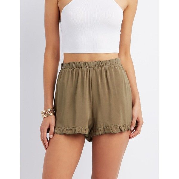 Charlotte Russe Flowy Ruffle-Trim Shorts ($18) ❤ liked on ...