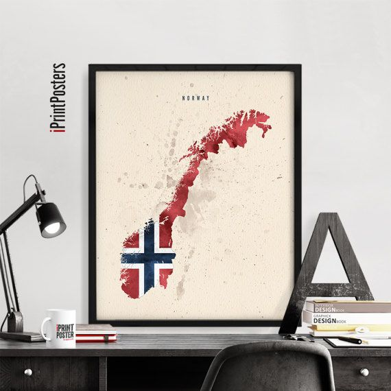 Norway Map Print Norway Poster Norway Flag Norway By IPrintPosters - Norway map to print
