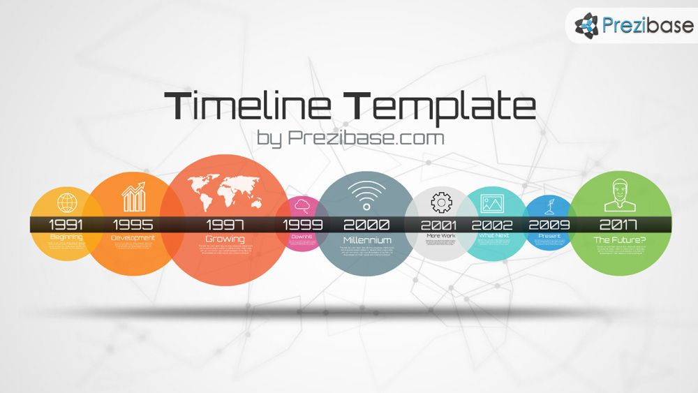 Simple colorful timeline template with circles prezi template - sample timeline