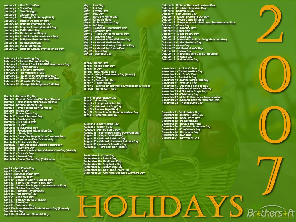 2007 Calendar With Holidays 2007 Holidays Screensaver 1 0 Free
