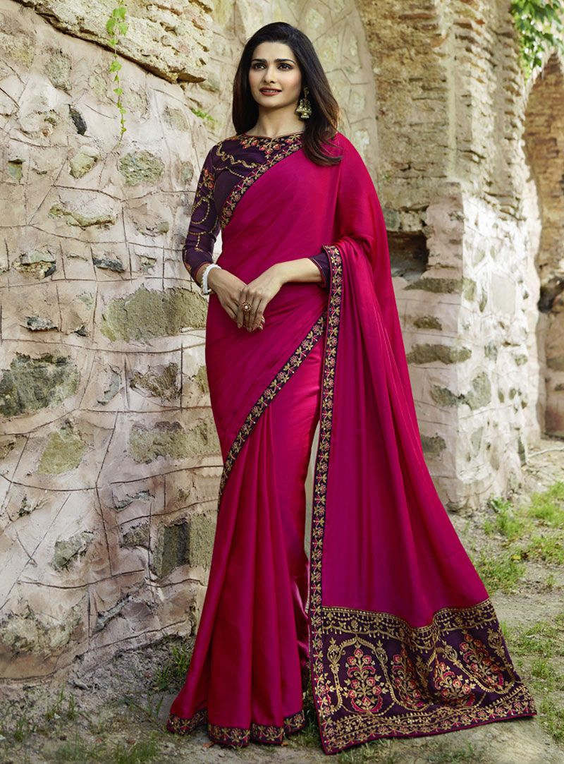 33fb5582f9e Buy Prachi Desai Magenta Silk Festival Wear Saree 143200 with blouse online  at lowest price from vast collection of sarees at Indianclothstore.com.