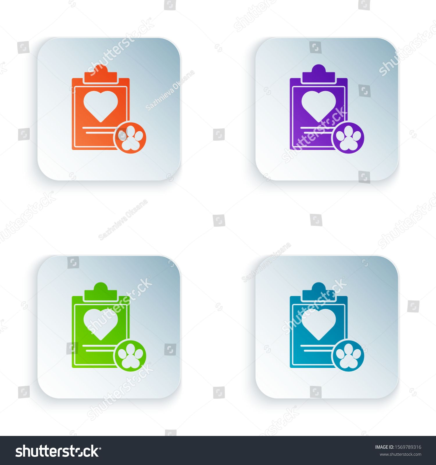 Color Clipboard With Medical Clinical Record Pet Icon Isolated On
