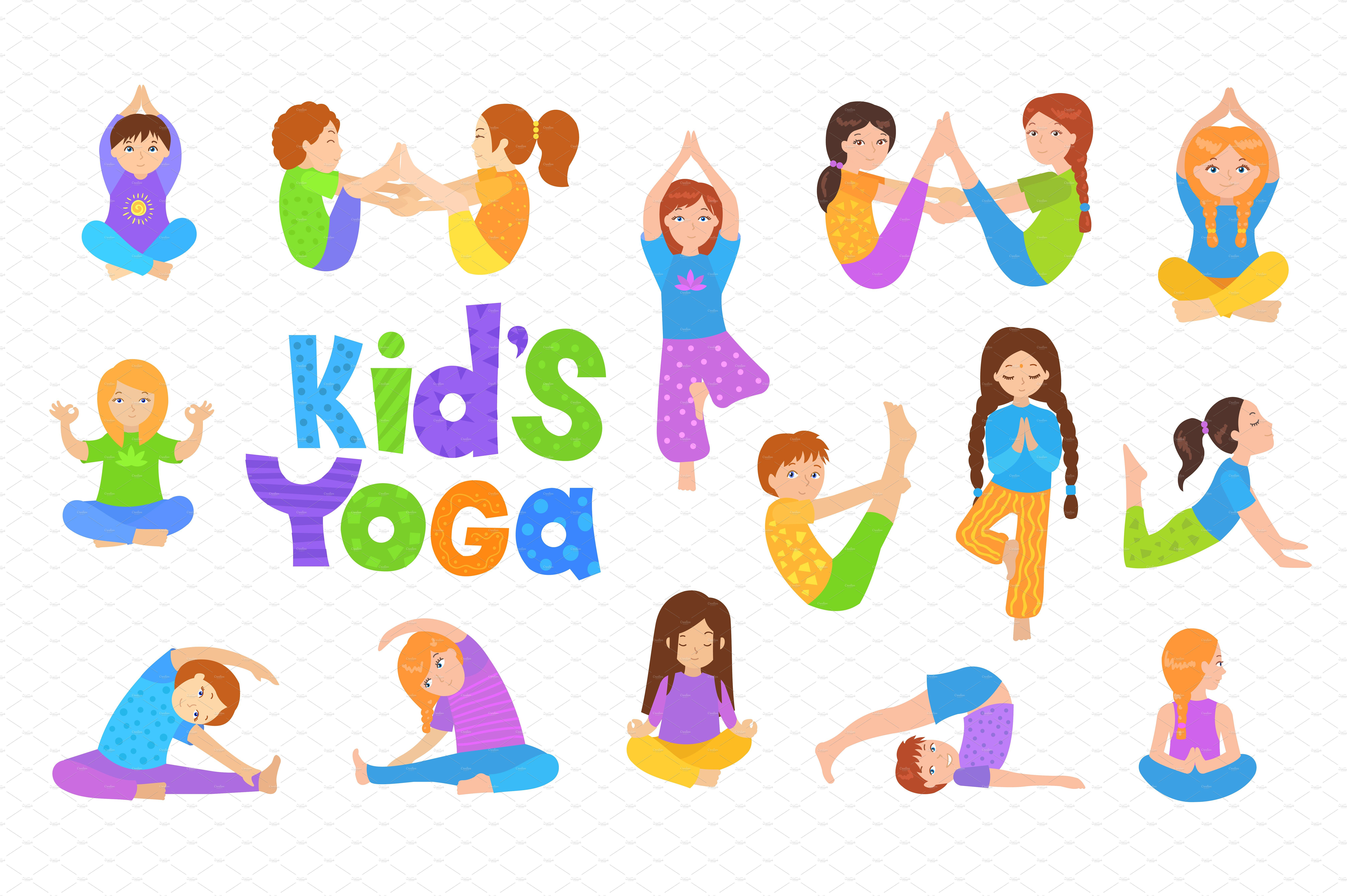 Yoga Kids Set Vector Illustrations Yoga For Kids Kids Set Vector Illustration
