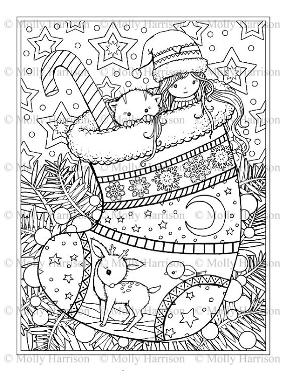 Christmas Stocking Coloring Page - Cat, Deer, Cute Little Girl ...